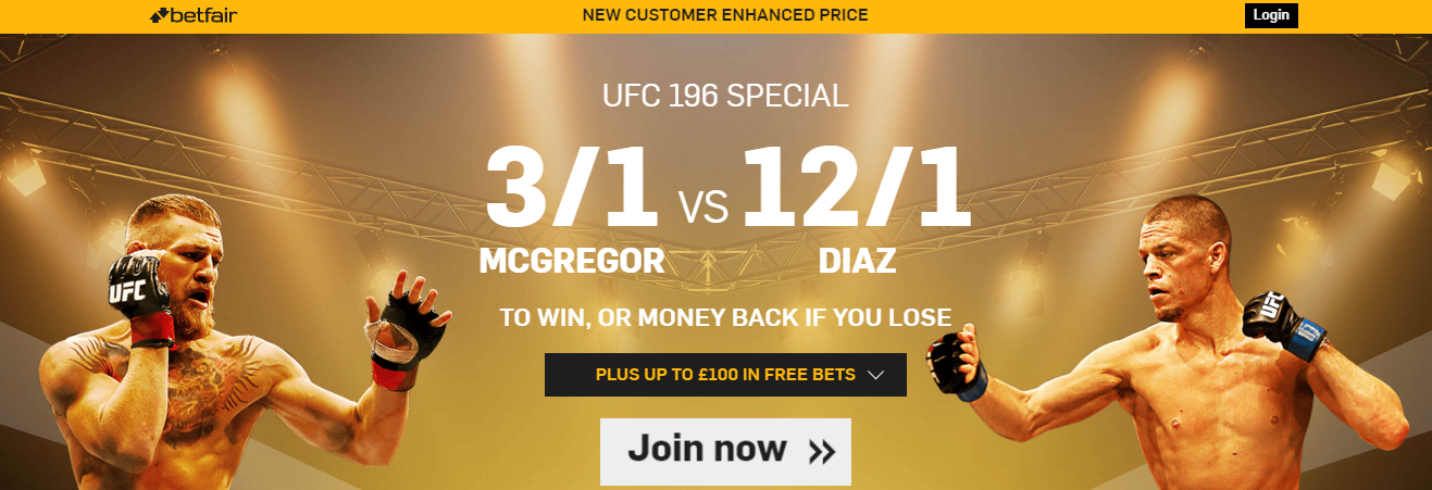 Betfair. Promotion. UFC odds.